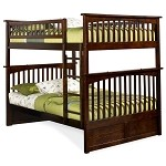 Columbia Bunk Bed Full Over Full in Antique Walnut Finish