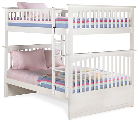 Columbia Bunk Bed Full Over Full in White Finish