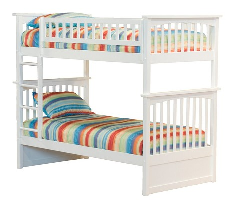 Columbia Bunk Bed Twin Over Twin in a White Finish