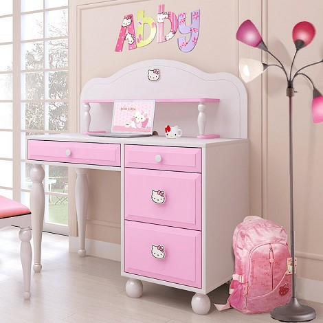 dreamfurniture com hello kitty desk w hutch 15539 | hellokittyofficedesk maxx 470 maxy 0