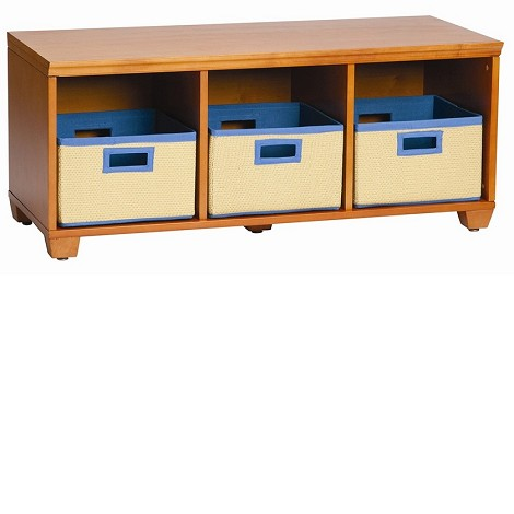 Alaterre Bench With Baskets, Honey W/ Blue