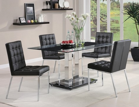 102311 Rolien 5 Piece Chrome Finish Table Set