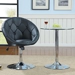 Coaster 102580 Round-Back Swivel Chair, Black