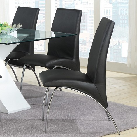 120802 Ophelia Vinyl and Metal Dining Chair (set of 2)