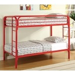 Fordham Twin Over Twin Bunk Bed with Built-In Ladders Red