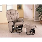 2645 Leatherette Recliner with Matching Ottoman - Bone Color