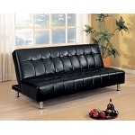 300118 Faux Leather Armless Convertible Sofa Bed