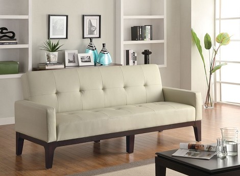 300226 Tufted Sofa Bed with Track Arms