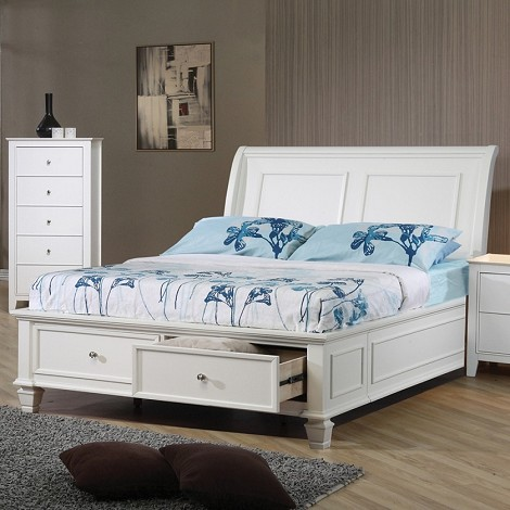 Sandy Beach Storage Bed In White Finish