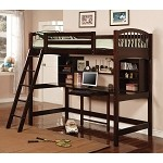 Bunks Casual Twin Workstation Loft Bunk Cherry