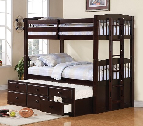 Logan Twin Bunk bed with trundle in Cappuccino