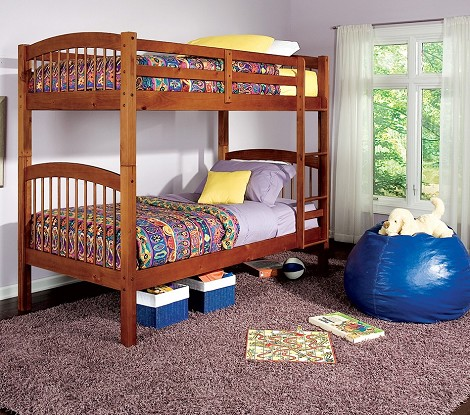 460173 Bunks Twin Bunk Bed with Built-In Ladder