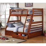 Ogletown Twin over Full Bunk Bed in Oak Finish