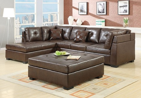 500686 Darie Leather Sectional Sofa with Left-Side Chaise