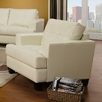501693 Samuel Contemporary Leather Chair Cream