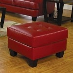501834 Samuel Contemporary Leather Ottoman Red