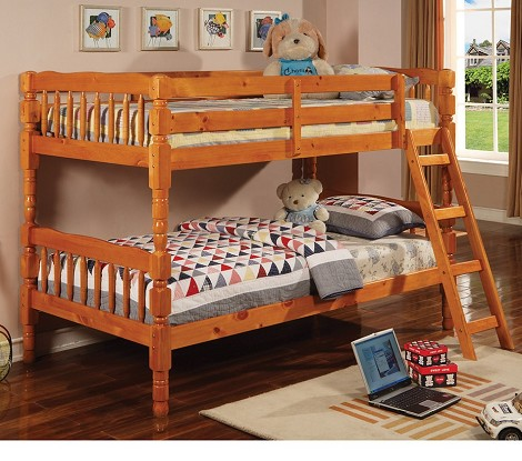 Corinth Twin Bunk Bed with Ladder Pine