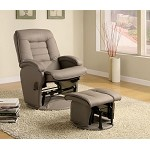 600166 Leather Like Vinyl Glider with Matching Ottoman Beige