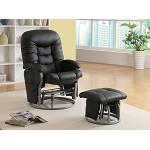 c600227 Casual Leatherette Glider Recliner with Matching Ottoman Black