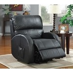 600416 Top Grain Leather Power Lift Recliner Black