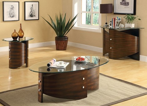 701747 Shaped Bentwood Base & Glass Top Collection