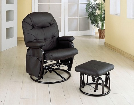 7291 Deluxe Swivel Glider with Matching Ottoman Black