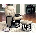 7292 Deluxe Swivel Glider with Matching Ottoman Beige