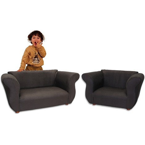 Fantasy Furniture Sofa And Chair Fancy Set Black Microsuede