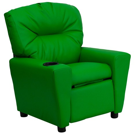 Contemporary Green Vinyl Kids Recliner With Cup Holder [Bt-7950-Kid-Grn-Gg]