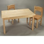 1406N  Natural Hardwood Rectangle Table and 2 Chair Set  - Natural Finish