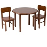 1407C  Natural Hardwood Round Table and 2 Chair Set  - Cherry Finish