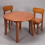 1407H  Natural Hardwood Round Table and 2 Chair Set  - Honey Finish