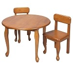 3000H  Queen Anne Round Table and 2 Chair Set Honey