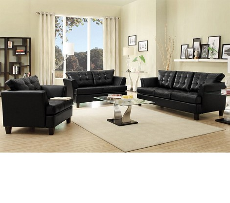 9994 Della Black Bonded Leather Sofa Set