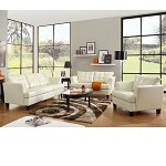 9994 Della White Bonded Leather Sofa Set