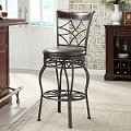 DS-1000-501 Metal/Wood Counter Stool-Barstool in Espresso/Bronze Finish