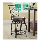 DS-420-501 Metal/Wood Counter Stool-Barstool in Espresso/Bronze Finish