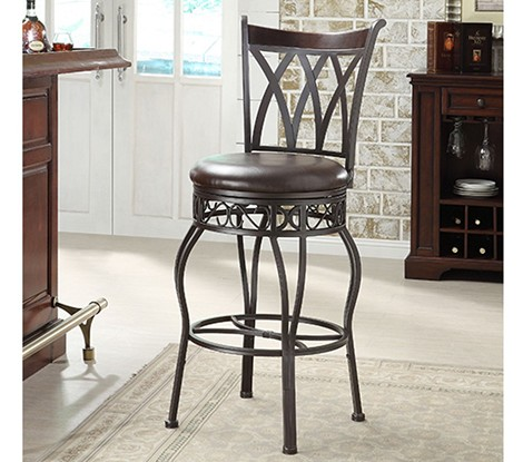DS-599-501 Metal/Wood Counter Stool-Barstool in Espresso/Bronze Finish