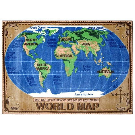 L.A Rugs World Map Rug