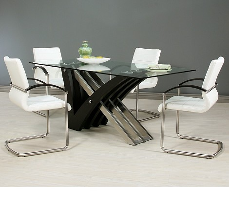 "Akasha Dining Set 70"" x 42"" rectangular glass top - SS"