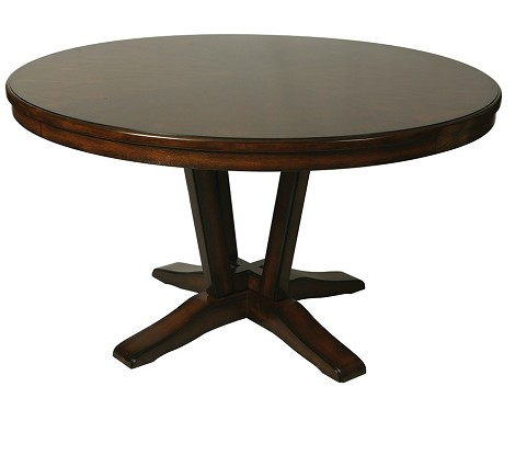 "Devon Coast dining table with 54"" round wood with glass insert"