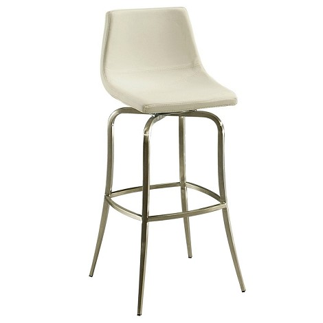 "Diamond Pearl 26"" Barstool in stainless steel upholstered in Pu Ivory - Each Stool"