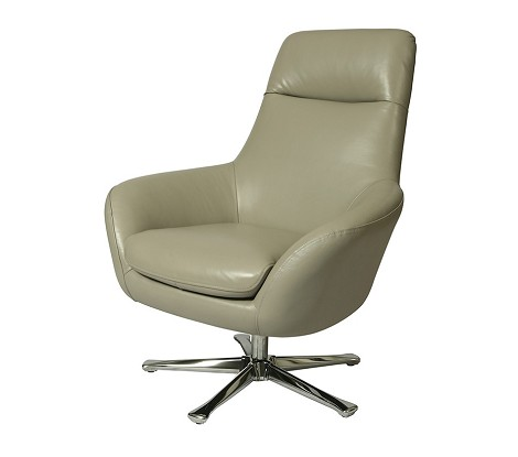 Ellejoyce Club Chair with Chrome base upholstered in Top Grain Light Gray Leather