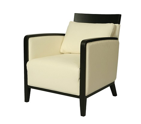 Elloise Club Chair with Ballarat Black wood base upholstered in Top Grain White Leather