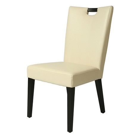 Epiphany side chair bonded in white leather