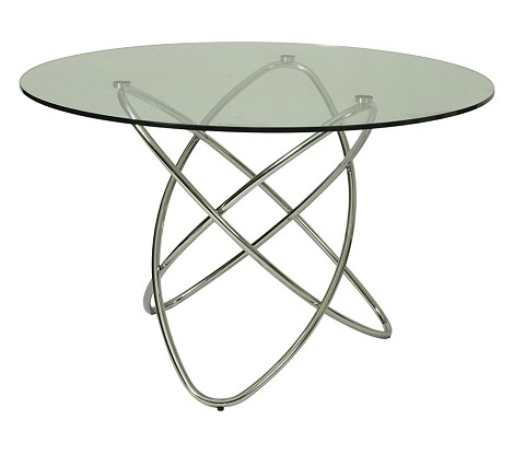 "Fleishman dining table with 47"" round glass top"