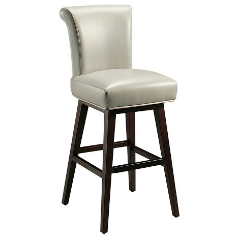 Pastel Furniture Hannah 30'' Bar Stool in Light Gray Leather