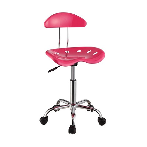 Pink & Chrome Adjustable Height Rolling Chair (Set Of Two)
