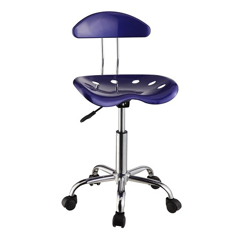Dark Blue & Chrome Adjustable Height Rolling Chair (Set Of Two)