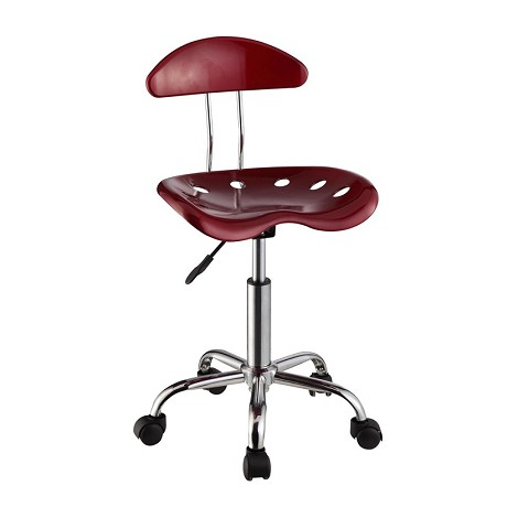 Dark Red & Chrome Adjustable Height Rolling Chair (Set Of Two)